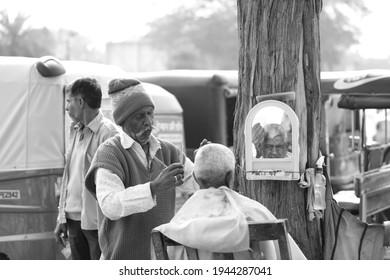 Jaipur,Rajasthan india-january 22 2020 Street Barber Shop at road side