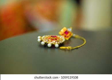 Jaipur,Rajasthan/India - April 1 2018 Gold Ear ring with diamond, Wedding ornament,bridal jhumka