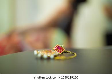 Jaipur,Rajasthan/India - April 1 2018 Gold Ear ring with diamond, bridal ornament,Wedding jewellery