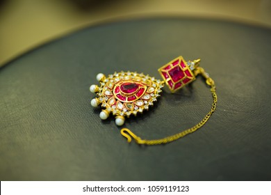 Jaipur,Rajasthan/India - April 1 2018 Gold Ear ring with diamond, Wedding ornament,bridal jewellery