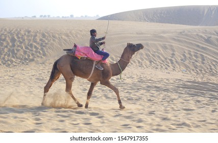 JAISALMER, INDIA - DECEMBER 31, 2016: Cameleer (camel driver) riding on camel in thar desert at Jaisalmer in the Indian state of Rajasthan. Photo/Sumit Saraswat