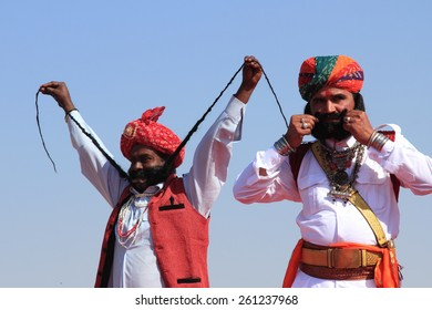JAISALMER, INDIA - FEB 01: Traditional Rajasthani men participate in the  Mr. Mushtache contest conducted as part of Desert Festival held on February 01, 2015 in Jaisalmer, Rajasthan, India.
