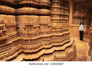 """JAISALMER, INDIA - FEBRUARY 15: Interior of Jain temple on February 15, 2011 in Jaisalmer, India. Jaisalmer is called """"Golden City"""" because of yellow sandstone used in every architecture of the city."""