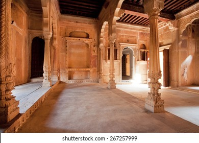 JAISALMER, INDIA - MAR 1: Columns inside the carved historical rooms of mansion in old city on March 1, 2015. Jaisalmer lies in the heart of the Thar Desert and has a population of about 78,000.