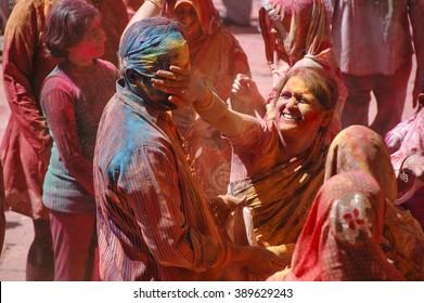 JAISALMER, INDIA, MARCH 08:  Indian community celebrates Holi, festival of colors.