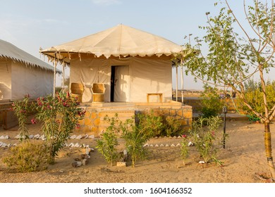 JAISALMER, INDIA, MARCH 15, 2017: View of a tent house at the Sam Sand dunes in the Golden city of Jaisalmer in the desert state of Rajasthan in western India