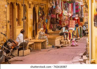 JAISALMER, INDIA - MARCH 2017: Street Market in Jaisalmer Fort, India