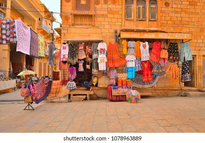 Jaisalmer, India - November 08, 2017: A shop selling wide variety of colorful handicrafts.