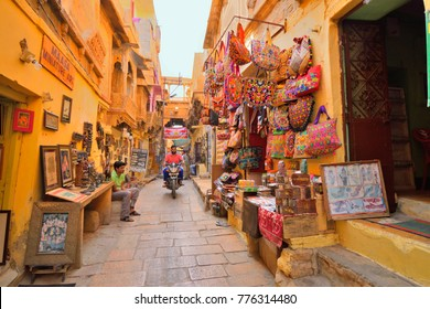 Jaisalmer, India - November 08, 2017: People moving in colorful streets in jaisalmer fort.