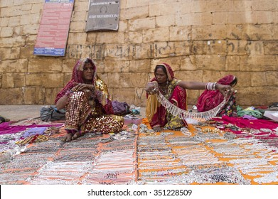 Jaisalmer, India-November 26, 2015:Unidentified street vendor selling a silver necklace in Jaisalmer Fort. The fort also known as Golden Fort of Jaisalmer.
