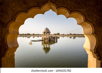 JAISALMER, March 15, 2017: View of Gadisar lake from inside the Chhatri, in the desert town of Jaisalmer in India