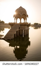 JAISALMER, March 15, 2017: View of a Chhatri inside the Gadisark lake, in the desert town of Jaisalmer in India