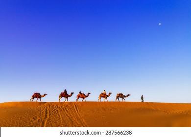 JAISALMER - MARCH 22 : man posing in the desert  on March 22 , 2014 in Jaisalmer,India