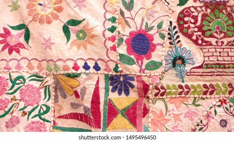 Jaisalmer, Rajasthan, India, 8 AUGUST 2019 : Details of colorful Indian handmade patchwork carpet made by old clothes on the street of jaisalmer fort for sell.