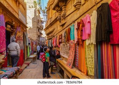 Jaisalmer. Rajasthan. India - December 28, 2014 : Shopping Street inside the Sonar (Golden) Fort - Jaisalmer