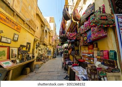 Jaisalmer Rajasthan, India - February 25, 2018: Sourvenir shops inside the Jaisalmer fort, one of the last living fort in the world.