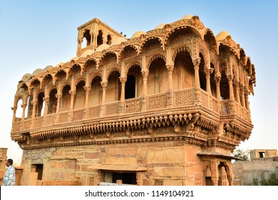Jaisalmer, Rajasthan, India - January 25, 2018 : The beautiful Patwon ki Haveli palace made of golden limestone in Jaisalmer, Rajasthan, India