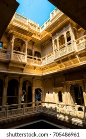 JAISALMER, RAJASTHAN, INDIA - MARCH 08, 2016: Vertical picture inside of Patwa Haveli, carved yellow sandstone architecture in Jaisalmer, known as Golden City in India.