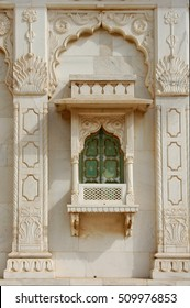 JAISALMER, RAJASTHAN, INDIA - MARCH 14, 2006: Architectural detail of the window, a rich haveli mansion in the historic city center