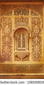 Jaisalmer, Rajasthan, India - November 2019 : Ornate stone carvings at the entrance of Zanana Mahal - Mandir Palace