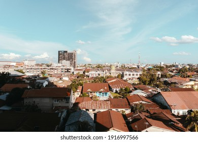 Jakarta, 2018, Landscape of beautiful houses in the village or city with the shadow