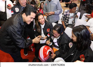 Jakarta, 25  January 2019. The team leader successfully campaigned for presidential candidate Mr. Erick Thohir while attending 01 Jokowi's official merchandise launch event at FX Sudirman Jakarta