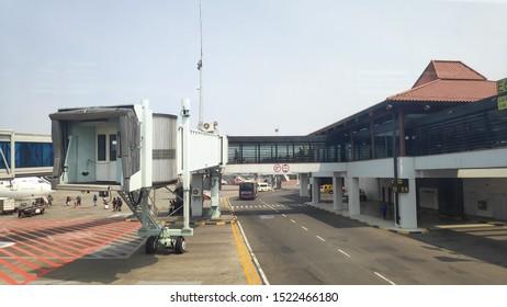 Jakarta, 3 october 2019 - activity atmosphere at Soekarno Hatta International Airport. Boarding Bridge on the tarmac of an airport. aero bridge