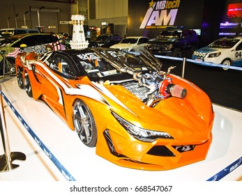 JAKARTA, 4 MAY 2017 : A custom sport car displays at Indonesia International Motor Show automotive event.