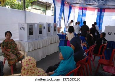 Jakarta - April 17th 2019 : Indonesian Election Day / Pemilu at TPS 36, Sunter Jaya