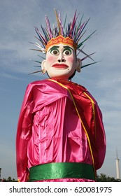 Jakarta, April 2017. Ondel-Ondel in National Monument, Ondel-Ondel is Traditional Puppet From Betawi / Jakarta Now.