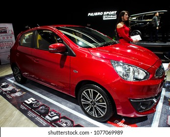 JAKARTA APRIL 24th 2018 A New Red Variant Of Mitsubishi Mirage Displayed At