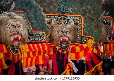 """Jakarta, DKI Jakarta / Indonesia - November 16 2016 : """"Reog"""" is a traditional Indonesian dance folk entertainment, contains magical elements, the main dancer is a lion-headed person with a peacock"""