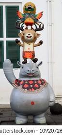 Jakarta, Indoenesia - May 16, 2018: Mascot of Asian Games 2018. Bhin Bhin—a cenderawasih (top), Atung—a Bawean Deer, and Kaka—a Javan rhinoceros (bottom).