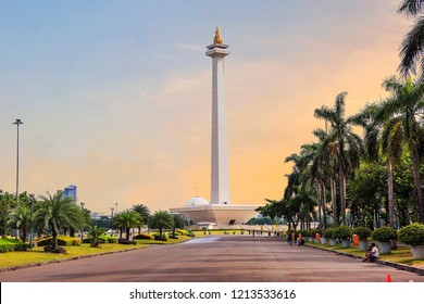 Jakarta, Indonesia, 01/05/2018, national monument (Monas). The national monument, or Monas, is a 137-meter tower in the center of Jakarta, symbolizing Indonesia's struggle for independence.