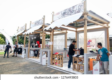 Jakarta, Indonesia - 09th 04 2016: Pop Up Stores Selling Clothes, Pop Up Market with Tents and Booths