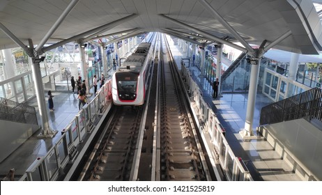 Jakarta- Indonesia, 11 June 2019 : Public Free trial LRT ( Light Rail Transit ) in Jakarta, before it will commercially operating.