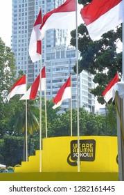Jakarta, Indonesia - 12 January 2019: declaration of Indonesian (UI) university alumni for jokowi in senayan.