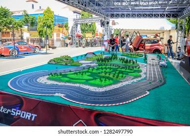 Jakarta, Indonesia - 26th 11 2016: Miniature Race Cars on a Race Track