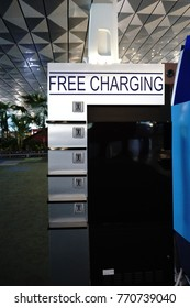Jakarta, Indonesia, 8 December 2017 - free charging port for public at the Soekarno Hatta International Airport, Jakarta, Indonesia