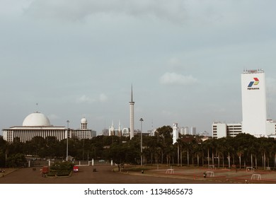 JAKARTA - Indonesia. April 04, 2018: View of Istiqlal mosque with National Monument (Monas) and pertamina building in Central Jakarta.