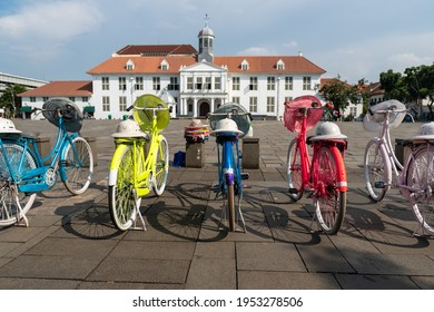 Jakarta, Indonesia - April 11, 2021: Colorful bicycles are rented out for visitors to the Fatahillah Museum in Kota Tua. Batavia old town. Selective fokus
