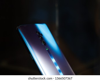 Jakarta, Indonesia - April 12, 2019: The Oppo Reno 10x Zoom is the new flagship of the maker and comes complete with a 13MP F/3.0 periscope camera with 10x hybrid zoom.