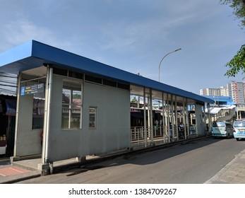 Jakarta, Indonesia - April 17, 2019: TransJakarta bus shelter on Jalan Jatibaru in Tanah Abang district.
