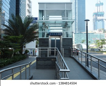 Jakarta, Indonesia - April 17, 2019: A priority elevator of Bundaran HI MRT Station on Thamrin street.