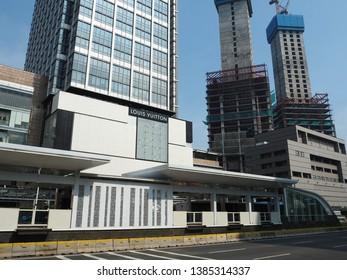 Jakarta, Indonesia - April 17, 2019: Bundaran HI TransJakarta bus shelter on Thamrin street.