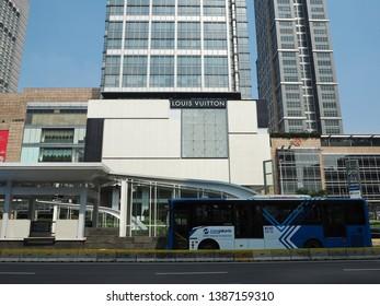 Jakarta, Indonesia - April 17, 2019: Bundaran HI integrated transport hub which connecting MRT Jakarta Station and TransJakarta bus stop on Thamrin street.