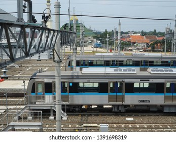 Jakarta, Indonesia - April 17, 2019: Rows of MRT Jakarta train sets parking at Lebak Bulus MRT Depot.