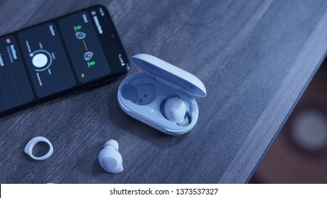 Jakarta, Indonesia - April 18, 2019: The Samsung Galaxy Buds wireless earbuds come with AKG-tuned audio for noticeably better sound quality.