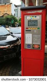 Jakarta, Indonesia - April 19, 2018: Parking meter station at Jalan Sabang (Sabang Street), Central Jakarta.