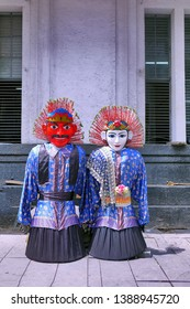 Jakarta / Indonesia - April 20 2019: A pair of ondel-ondel effigy, Betawi cultural icons at Kota Tua Jakarta